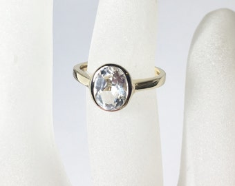 White Topaz Sterling Silver Ring, Engagement Ring, Ready to Ship Size 6.25