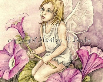 ORIGINAL ILLUSTRATION - FANTASY; fairy child, broken flower, garden, wall art, child's room, children's art, 11 x 14 inches double matted