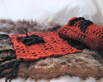 Fringe scarf, thick scarf, long scarf, hipster scarf, winter scarf, boho scarf, super scarf, orange scarf, hippy scarf