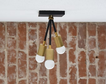 Free Shipping! Matte Black and Gold Raw Brass Modern Semi Flush 3 Arm Bulb Three Atomic Sputnik Mid Century Industrial Light UL Listed