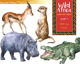 Wild Africa Clipart, Digital Watercolor Illustration, African animals Clip Art, Hand-painted, Safari Stock Illustration, Commercial use