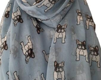 French Bulldog Scarf, Blue French Bulldogs Print, Dog Scarf, Frenchie Dogs Wrap