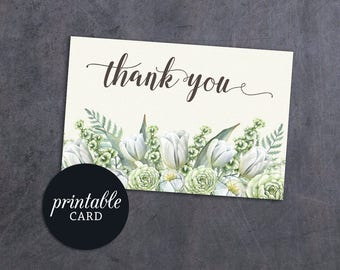 Wedding Thank You Card, Baby Shower Thank you Card Printable Birthday Thank you card, Printable Thank you card, Green Floral Thank you Note