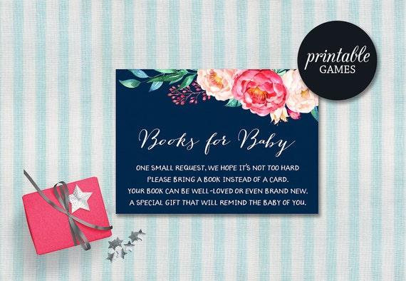 Baby Shower Card Printable ~ Printable book request card girl baby shower bring a book