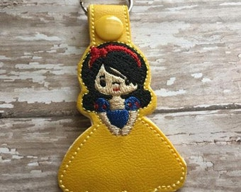 Snow Little Princess - In The Hoop - Snap/Rivet Key Fob - DIGITAL EMBROIDERY Design