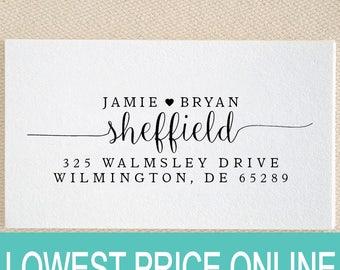 Personalized Custom Return Address Stamp - Great Wedding, Newlywed, Housewarming, New Home, Gift Love Heart Self inked, Pre-inked RE911