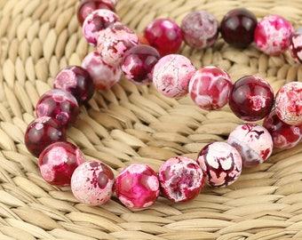 10 mm Pink Agate beads • Agate stone beads • Agate gemstone beads • Pink agate • Gemstone beads • Round agate beads • Mala beads