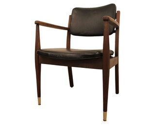 Mid-Century Danish Modern Walnut Open Arm Lounge Chair #3