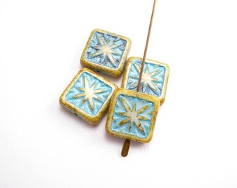 Green Turquoise Square Compass Czech Glass Beads, (6 pcs) 15mm Square Beads, Green Square Bead, Tile Bead, Compass Beads, Star Beads SQU0026