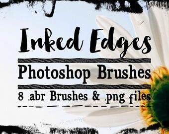 Inked Edge Photoshop Brushes ClipArt - Grunge Chalked or Ink Edges Digital Stamps