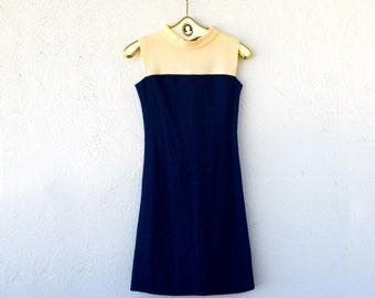 Vintage 60s Mod Minimalist Mini Scooter Knit Dress // Nautical Navy Blue White High Neck Short Dress