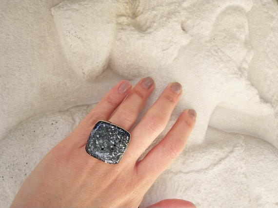 Granite ring, black resin ring, black stone ring, faux marble - faux granite, contemporary jewelry, big chunky square ring, stainless steel