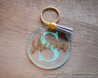 Name Keychain, Monogram, Acrylic Keychain, luggage tag, Gym bag tag, Backpack tag, Personalized keychain
