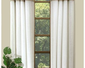 Geneva Colour block Curtains-Cotton Organdie sheer and Linen tuxedo pleats