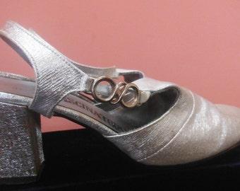 Silver Fascinators Shoes, Size 5, Vintage 1960's - 1970's