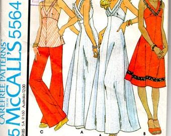 McCalls 5564 Misses and Juniors/Petite Dress, Top, Jumper, 1977 Size 12