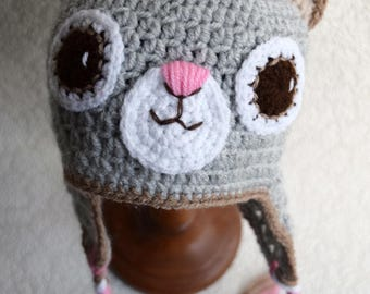 Crochet baby hat, Cat hat,  Earflap hat, Newborn photo prop, newborn/baby hat, baby boy, baby girl, newborn prop, animal hat, ready to ship