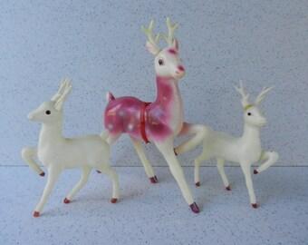 Set of 3 Vintage Celluloid Reindeer, Christmas Decor, Kitchmas, Made in Japan