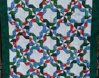 Christmas Quilt; Red, Green, White, and Blue; Ribbons Block Quilt