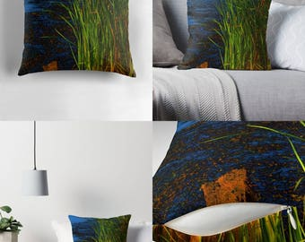 Throw Pillow - Pillow Cover — Reeds & Rushes / Dramatic High Contrast Image of Marshy Setting / Spun Polyester