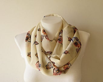 Beige Floral Infinity Scarf, Flower Butterfly Print Circle Scarf, Women Chiffon Scarf, Loop Scarf, Spring Summer Fashion, Gift For Her