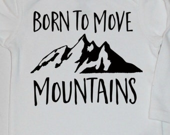 DIY iron on decal transfer black Born to move mountains baby boy or baby girl iron on for bodysuit shirt banner do it yourself new baby gift