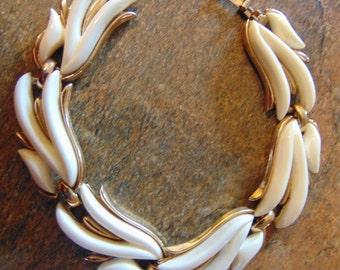 Vintage White and Goldtone Monet Link Bracelet