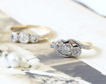Antique Diamond Ring, Diamond Crossover Ring, Diamond Engagement Ring, Platinum and Yellow Gold Ring, Vintage Engagement Ring, Antique Ring