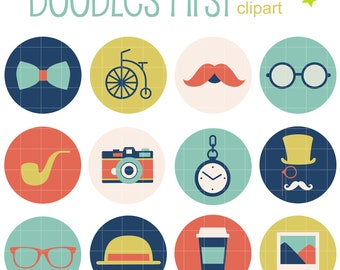 Hipster Badges Collage Sheets for Scrapbooking Card Making Cupcake Toppers Paper Crafts Digital Collage Sheet