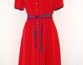 Vintage 1970s Hot Pink Button Down dress with Colorful Belt by Epitome in size 6