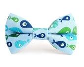 Dog Bow Tie, Dog Bow, Fresh Blue Fish (Light Blue, Green, Navy Blue, Aqua), Removable Dog Accessory for Pet Collar
