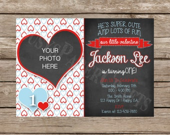 Valentine First Birthday Photo Invitation, Digital File, You Print
