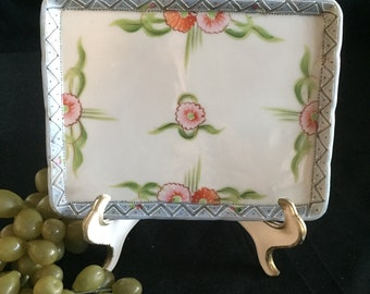 E017  Ceramic square Tray made in Japan