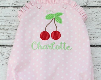 First Birthday Ruffle Bubble, Cherry Bubble, Ruffle Criss Cross Bubble, Pink Polka Dot Sunsuit, Monogrammed Sunsuit