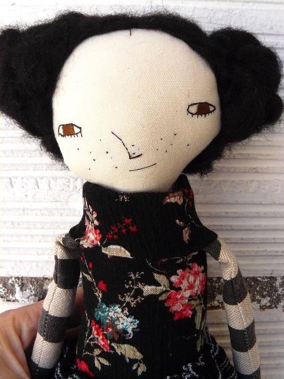 Art doll with alpaca and silk wool hair. 32 cm