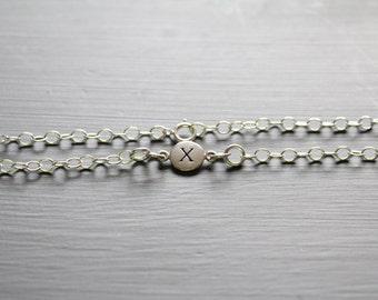 Sterling Silver Simple X Initial Bracelet, Silver Stamped X Bracelet, Stamped X Initial Bracelet, Small X Initial Bracelet, X Bracelet