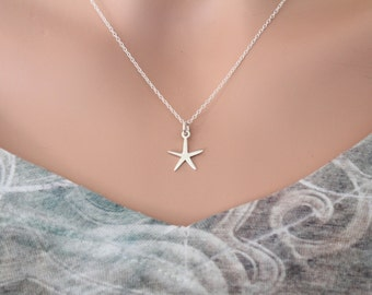 Sterling Silver Starfish Necklace, Starfish Necklace, Starfish Charm Necklace, Silver Starfish Necklace, Ocean Animal Necklace, Ocean Charm