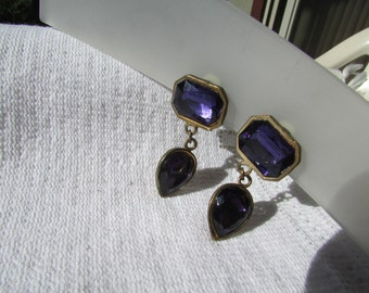 Vintage HUGE  purple rhinestone drop earrings  earrings boho statement earrings