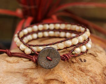 Mother of Pearl leather wrap bracelet