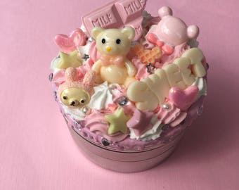 Kawaii Pink and Yellow Decoden Bear Herb Grinder