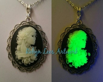 Glow in the Dark Large Green Mexican Day of the Dead Sugar Skull Cabochon Cameo Necklace on Silver Crossed Chain. Dia de Muertos