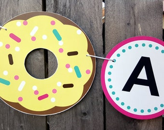Donut Banner, Donut Birthday Banner, Donut Party Banner, Donut Garland, Photo Prop, Donut Grow Up Banner