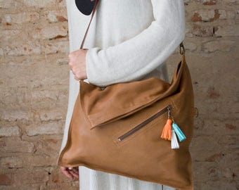 Crossbody bag, Leather cross body purse, Brown leather bag, Foldover, Everyday bag, Leather foldover bag