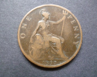 Great Britain 1897 one penny coin, Queen Victoria, an ideal gift or for craft or jewellery making in good used (circulated) condition.
