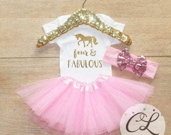 Fourth Birthday T-Shirt Outfit / Baby Girl Clothes Four Fabulous Unicorn 4 Year Old Tutu  Outfit Four Birthday Set 4th Birthday Outfit 168