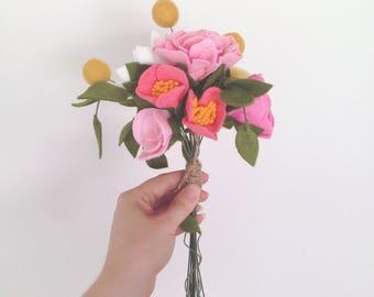 Felt Flower Bunch - Cheery Mix