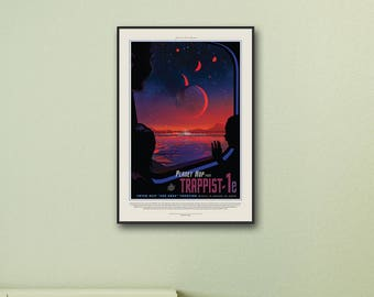 NASA Space Print, Trappist-1e Large Prints, Space Art, Travel Poster, Space Prints, Science Gifts, Solar System, Framed Print, Print, Canvas