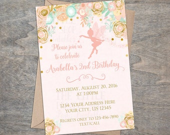 Pink Gold Fairy Invitation | Pixie Birthday Party Enchanted Garden Fairies Invitation Watercolor Floral Printable