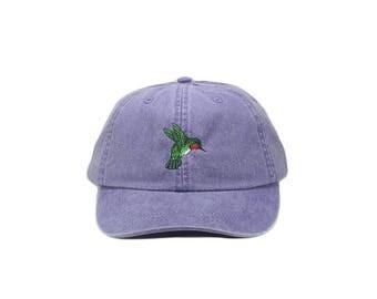 Hummingbird embroidered hat, baseball cap, dad hat, mom cap, bird hat, wildlife hat, nature cap, bird lover gift, bird watcher