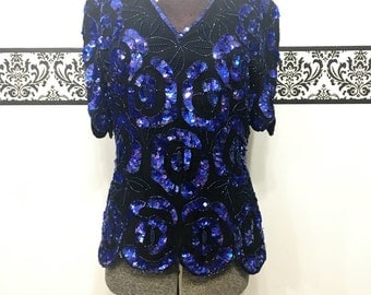 1980's Stenaz Evening Sequin Silk Sleeveless Blouse, Size Small, Purple Sequin Designer Blouse, Vintage Sequin New Year's Eve Blouse
